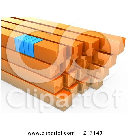 Royalty-Free (RF) Clipart Illustration of a Stack Of Orange And Blue Bars by 3poD