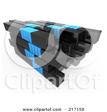 Royalty-Free (RF) Clipart Illustration of a Stack Of Black And Blue Bars by 3poD