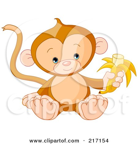 Royalty-Free (RF) Clipart Illustration of a Cute Baby Monkey Holding A Banana by Pushkin