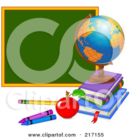 Desk Globe On Top Of Books By An Apple, Pencil, Crayons, And Chalk Board Posters, Art Prints