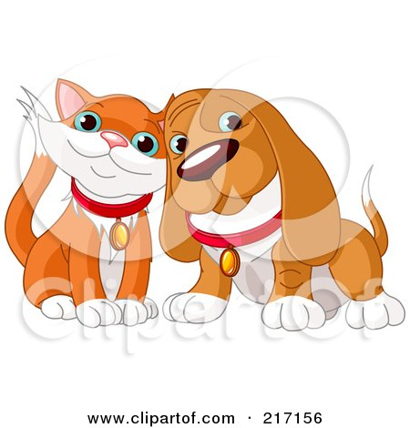 Royalty-Free (RF) Clipart Illustration of a Cute Orange And White Cat And Basset Hound Cuddling by Pushkin