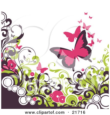 Pink Butterflies Fluttering Over Circles And Brown And Green Vines Scrolling Over A White Background Posters, Art Prints