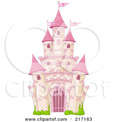 Royalty-Free (RF) Clipart Illustration of a Pink Brick Fairy Tale Castle by Pushkin