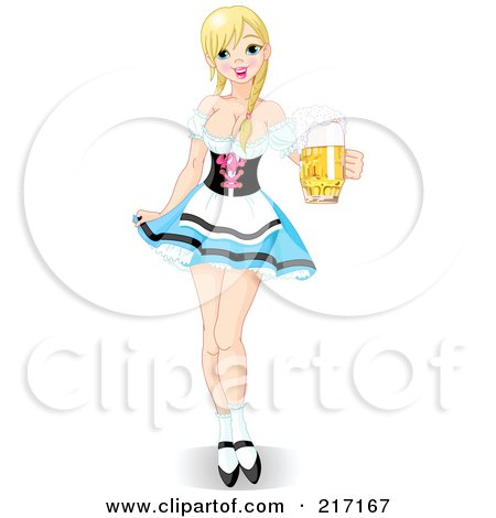 Royalty-Free (RF) Clipart Illustration of a Sexy Oktoberfest Maiden In A Short Skirt, Serving Beer by Pushkin