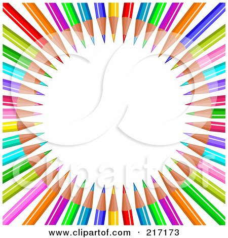 Royalty-Free (RF) Clipart Illustration of a Background Of Colored Pencils In Circle Display by Pushkin