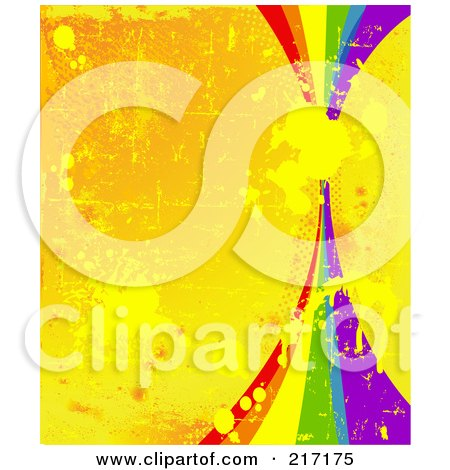 Royalty-Free (RF) Clipart Illustration of a Rainbow On A Grungy Splattered And Scratched Orange Background by Pushkin