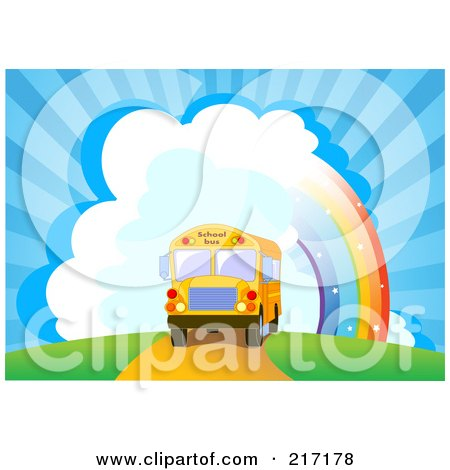 Royalty-Free (RF) Clipart Illustration of a School Bus Driving Near A Rainbow And Bursting Sky by Pushkin