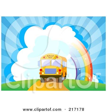 School Bus Driving Near A Rainbow And Bursting Sky Posters, Art Prints