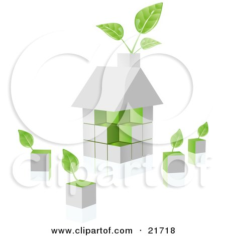 Clipart Picture Illustration of a White Home Built Of Blocks With Green Sides And Plants Sprouting From The Chimney And Loose Cubes by Tonis Pan