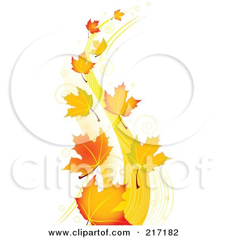 Royalty-Free (RF) Clipart Illustration of Autumn Maple Leaves Floating In The Breeze by Pushkin