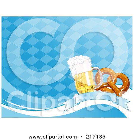 Royalty-Free (RF) Clipart Illustration of a Blue Diamond Oktoberfest Background Of Beer And A Soft Pretzel On A Banner by Pushkin