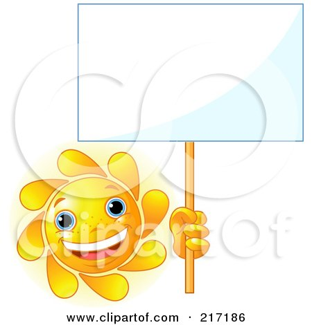 Royalty-Free (RF) Clipart Illustration of a Freckled Sun Holding Up A Blank White Sign by Pushkin
