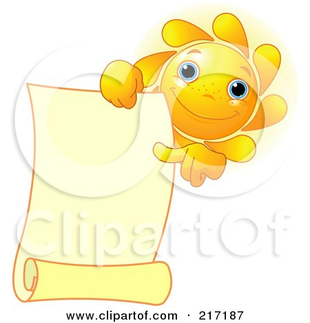 Royalty-Free (RF) Clipart Illustration of a Freckled Sun Holding And Pointing At A Blank Scroll by Pushkin
