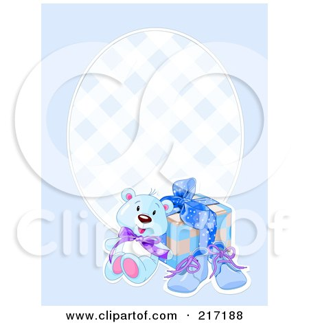 Royalty-Free (RF) Clipart Illustration of a Blue Boy Background With A Teddy Bear, Shoes And Present by Pushkin