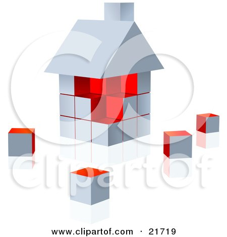 Clipart Picture Illustration of a White And Red Home Built Of Cubes, On A Reflective Surface by Tonis Pan