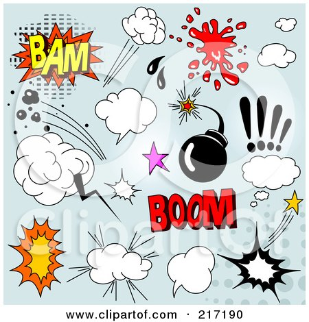 Royalty-Free (RF) Clipart Illustration of a Digital Collage Of Comic Sound Clouds On Blue - 1 by Pushkin