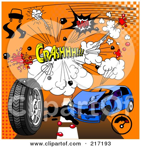 Royalty-Free (RF) Clipart Illustration of a Digital Collage Of Comic Sound Clouds On Orange by Pushkin