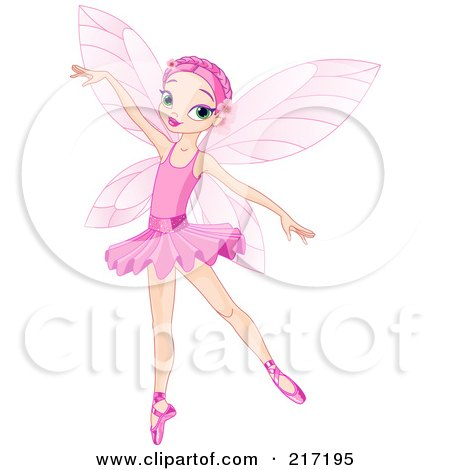 Royalty-Free (RF) Clipart Illustration of a Pretty Pink Haired Fairy Gracefully Dancing by Pushkin