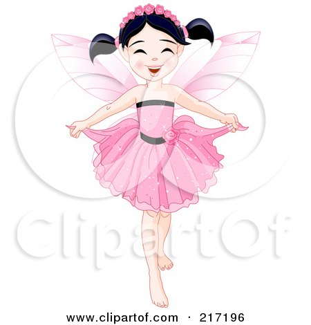 Royalty-Free (RF) Clipart Illustration of a Pretty Black Haired Fairy Holding Her Dress by Pushkin