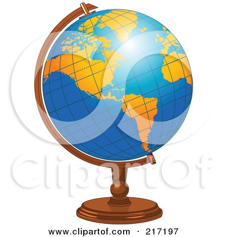 Royalty-Free (RF) Clipart Illustration of a Shiny Blue Desk Globe With Orange American Continents by Pushkin