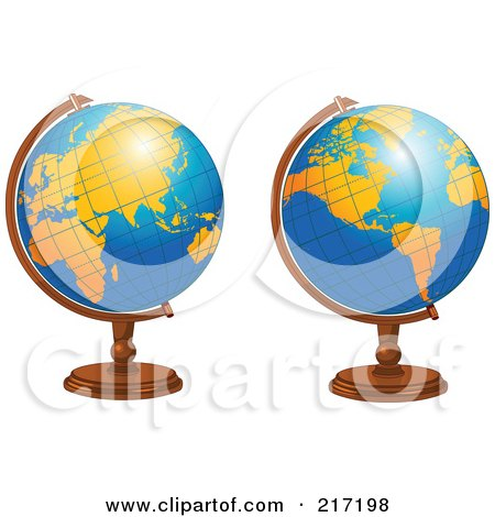 Royalty-Free (RF) Clipart Illustration of a Digital Collage Of Shiny Blue Desk Globes With Orange Continents by Pushkin