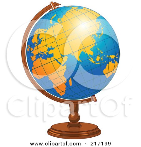 Royalty-Free (RF) Clipart Illustration of a Shiny Blue Desk Globe With Orange Continents by Pushkin