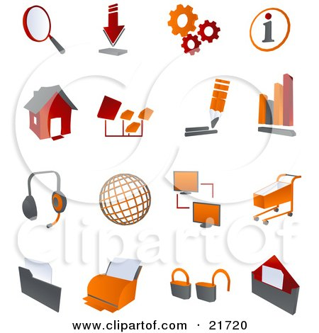 Collection Of Red And Orange Internet Icons On A White Background Posters, Art Prints