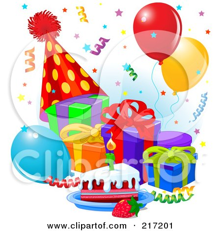 Phenomenal Confetti Falling Over Presents Balloons Cake And A Party Hat Funny Birthday Cards Online Sheoxdamsfinfo