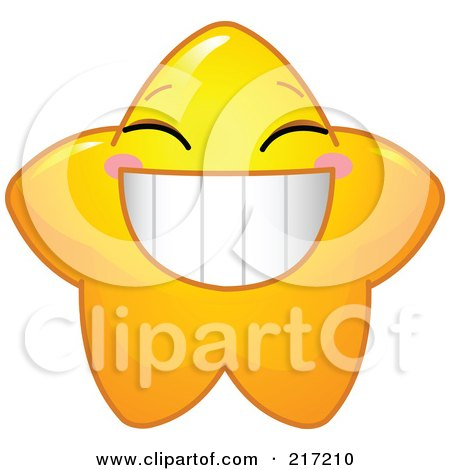 Royalty-Free (RF) Clipart Illustration of a Cute Yellow Star Character Grinning by Pushkin