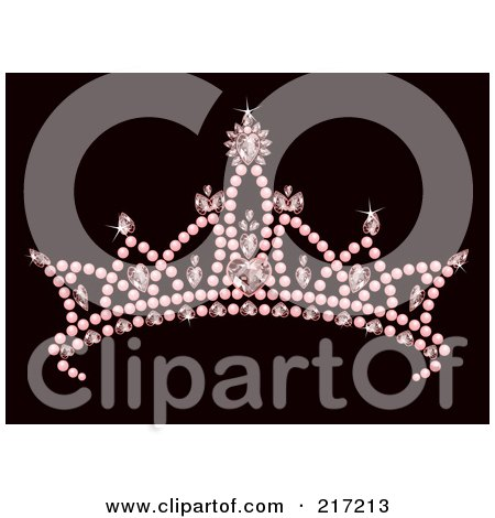 Royalty-Free (RF) Clipart Illustration of a Pink Jeweled Princess Crown by Pushkin