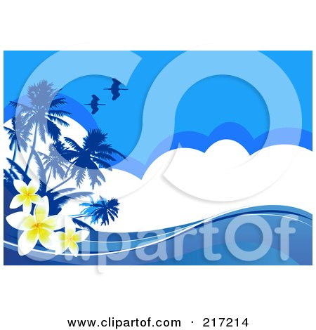 Royalty-Free (RF) Clipart Illustration of a Blue Tropical Background Of Plumeria Flowers, Birds, Palm Trees, Clouds And Waves by Pushkin