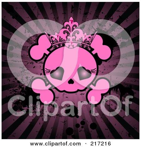 Royalty-Free (RF) Clipart Illustration of a Grungy Pink Female Skull On A Dark Splattered Burst Background by Pushkin