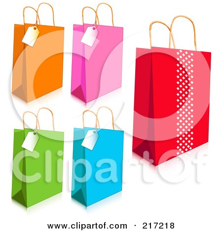 Royalty-Free (RF) Clipart Illustration of a Digital Collage Of Colorful Shopping Bags And Tags With Shadows by Pushkin