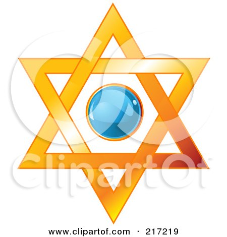 Royalty-Free (RF) Clipart Illustration of a Blue Shiny Circle In A Star Of David by Pushkin