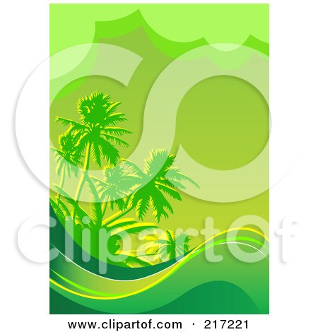 Royalty-Free (RF) Clipart Illustration of a Green Tropical Background Of Waves And Palm Trees by Pushkin