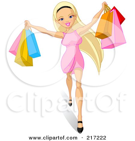 Royalty-Free (RF) Clipart Illustration of a Young Blond Woman Holding Up Shopping Bags by Pushkin