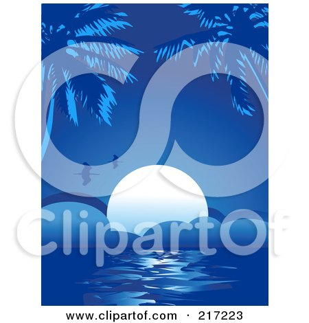 Royalty-Free (RF) Clipart Illustration of a Blue Tropical Background Of Birds Flying Over The Setting Sun And Palm Trees by Pushkin