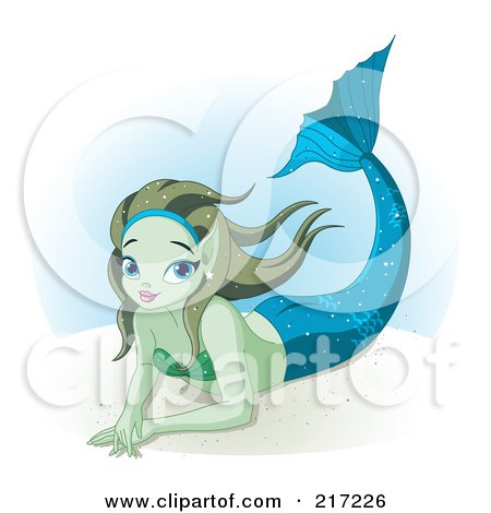 Royalty-Free (RF) Clipart Illustration of a Pretty Mermaid Resting Underwater by Pushkin