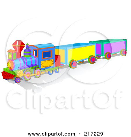 Royalty-Free (RF) Clipart Illustration of a Colorful Toy Train With A Shadow by Pushkin