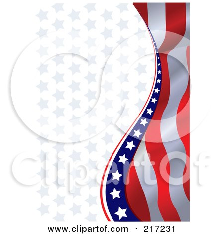 Royalty-Free (RF) Clipart Illustration of an American Background Of Wavy Stripes And Stars by Pushkin