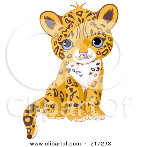 Royalty-Free (RF) Clipart Illustration of a Cute Jaguar Cub Sitting by Pushkin
