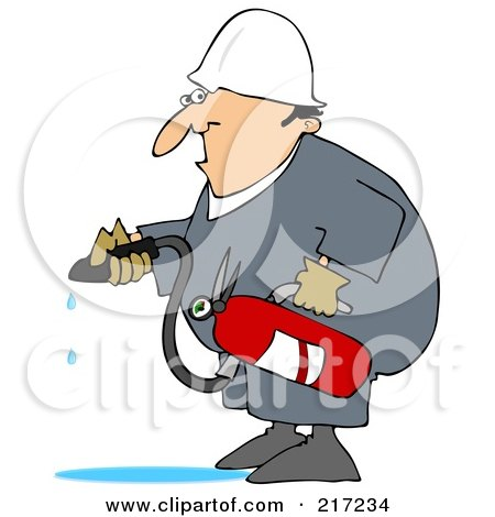 Royalty-Free (RF) Clipart Illustration of a Caucasian Worker Man In A Puddle Of Water After Using A Fire Extinguisher by djart