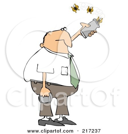 Royalty-Free (RF) Clipart Illustration of a Caucasian Businessman Releasing Three Butterflies From A Can by djart