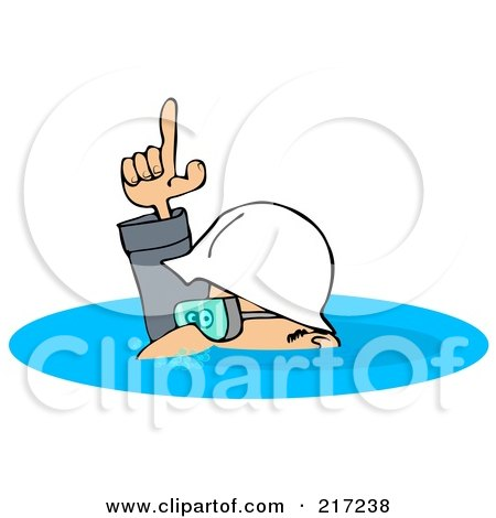 Royalty-Free (RF) Clipart Illustration of a Caucasian Worker Man In A Deep Puddle Of Water by djart