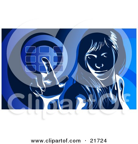 Clipart Picture Illustration of a Woman Glancing Up And Entering Her Security Code Into A Keypad, In Blue Tones by Tonis Pan