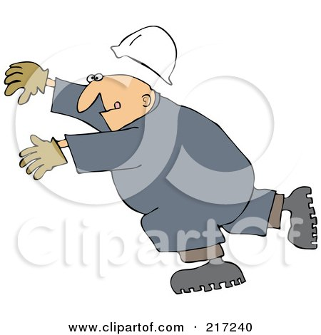 Royalty-Free (RF) Clipart Illustration of a Caucasian Worker Man Slipping And Falling Forward by djart
