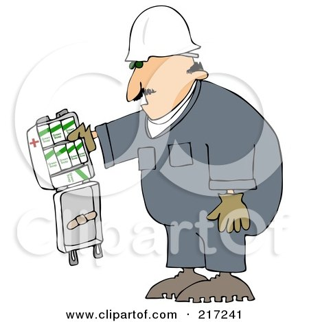 Royalty-Free (RF) Clipart Illustration of a Caucasian Worker Man With An Open First Aid Kit by djart
