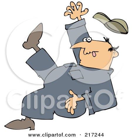 Royalty-Free (RF) Clipart Illustration of a Caucasian Worker Man Falling Backwards by djart