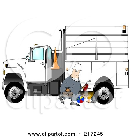 Royalty-Free (RF) Clipart Illustration of a Caucasian Worker Man Walking By A Utility Truck As A Boy Plays Underneath by djart