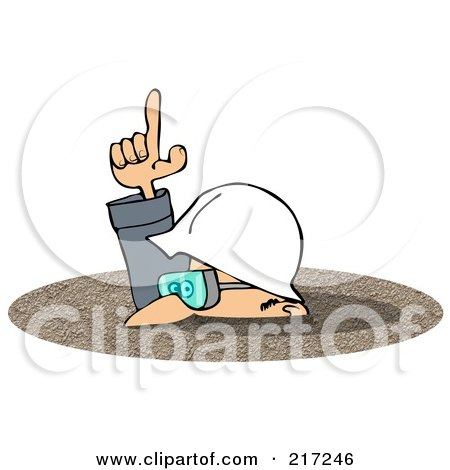 Royalty-Free (RF) Clipart Illustration of a Caucasian Worker Man In A Deep Pile Of Dirt by djart